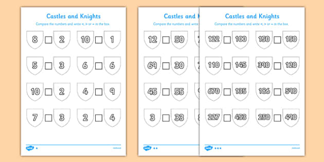 Castles and Knights Number Comparison Differentiated Activity Sheet Pack, worksheet