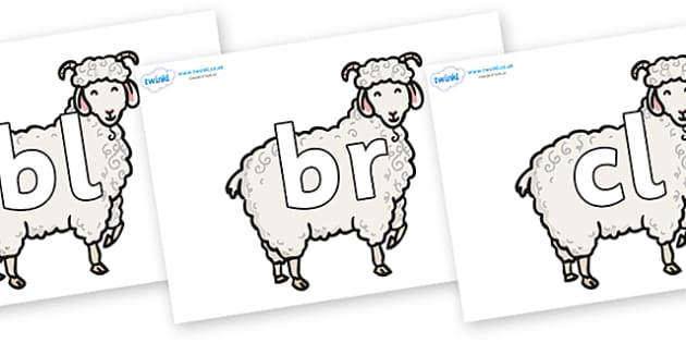 Initial Letter Blends on Small Billy Goats - Initial Letters, initial letter, letter blend, letter blends, consonant, consonants, digraph, trigraph, literacy, alphabet, letters, foundation stage literacy