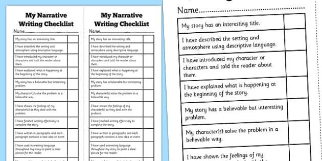 Narrative Writing Student Checklist - Narrative, Story, NAPLAN, Australian, Student, Checklist, Self Assessment