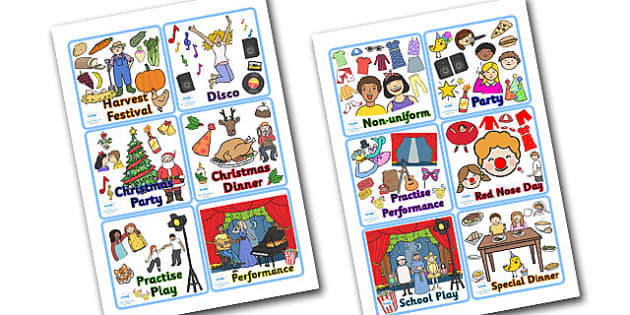 School Special Occasions Visual Timetable - school occasions, school special occasions, visual timetable, special occasion timetable