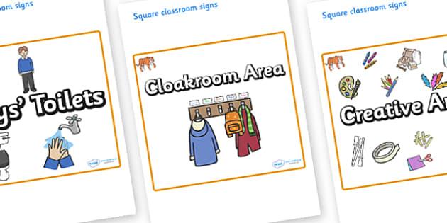 Tiger Themed Editable Square Classroom Area Signs (Plain) - Themed Classroom Area Signs, KS1, Banner, Foundation Stage Area Signs, Classroom labels, Area labels, Area Signs, Classroom Areas, Poster, Display, Areas