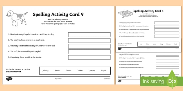 Australian Year 5 Spelling Mistakes Set Two Activity Sheets-Australia