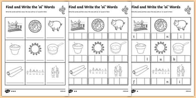 Find and Write the oi Words Differentiated Activity Sheet Pack, worksheet