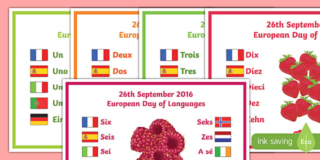 One Number in 10 Different Languages Display Posters
