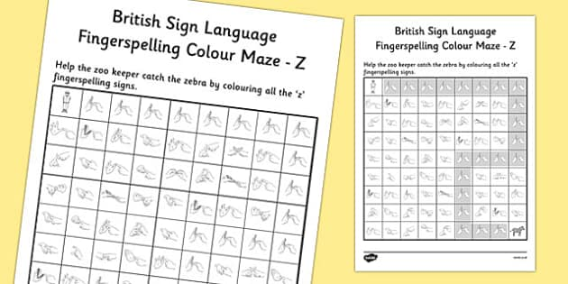 British Sign Language Left Handed Fingerspelling Colour Maze Z