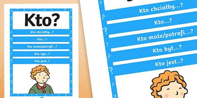 Plakat z pytaniami Kto? po polsku