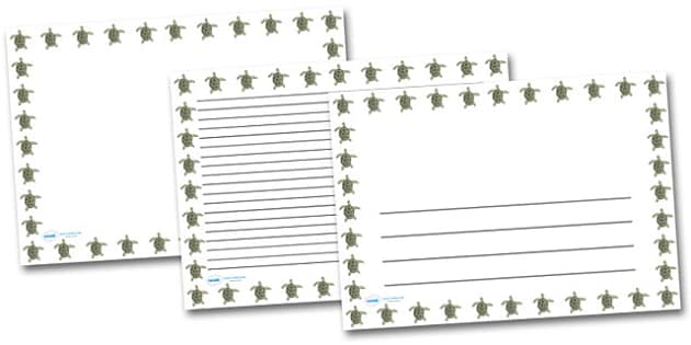 Turtle Landscape Page Borders- Landscape Page Borders - Page border, border, writing template, writing aid, writing frame, a4 border, template, templates, landscape