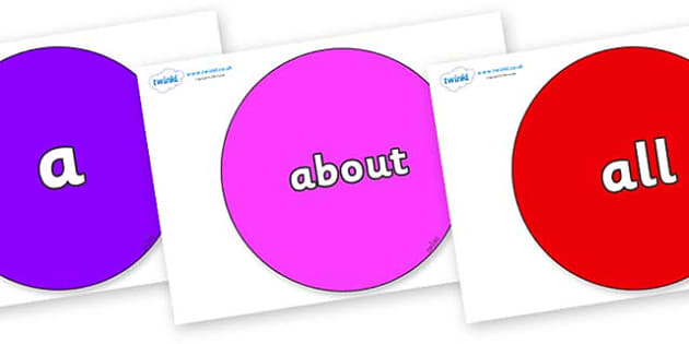 100 High Frequency Words on Circles - High frequency words, hfw, DfES Letters and Sounds, Letters and Sounds, display words