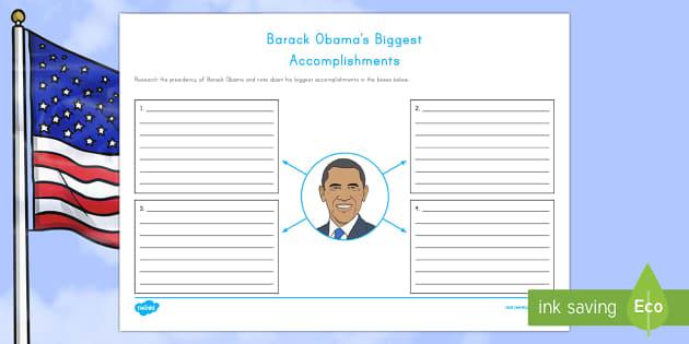 Barack Obama's Biggest Accomplishments Writing Activity Sheet - American Presidents, American History, Social Studies, Barack Obama, Lyndon B. Johnson, Franklin D.
