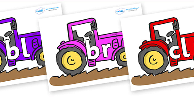 Initial Letter Blends on Tractors - Initial Letters, initial letter, letter blend, letter blends, consonant, consonants, digraph, trigraph, literacy, alphabet, letters, foundation stage literacy