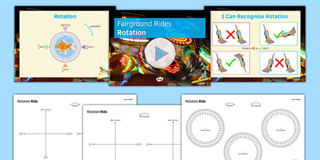 Fairground Rides Rotation SEN MLD - maths, KS 3, SEN, MLD, geometry, transformations, enlargement, rotation, translation, reflection, project