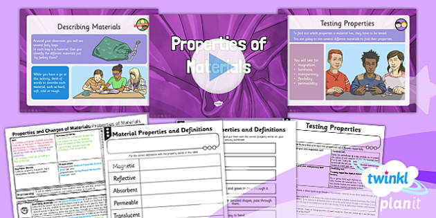 PlanIt Science Year 5 Properties And Changes Of Materials Lesson 1 Properties Of Materials Lesson Pack - science, year 5, materials, topic, planning, resources, unit, opaque, transparent, hard, soft, rough, smooth, dissolving, solids, liquids, ga