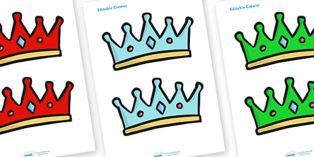 Editable Coloured Crowns - Crown, crowns, hat, editable, display hat, A4