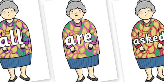 Tricky Words on Little Old Lady - Tricky words, DfES Letters and Sounds, Letters and sounds, display, words
