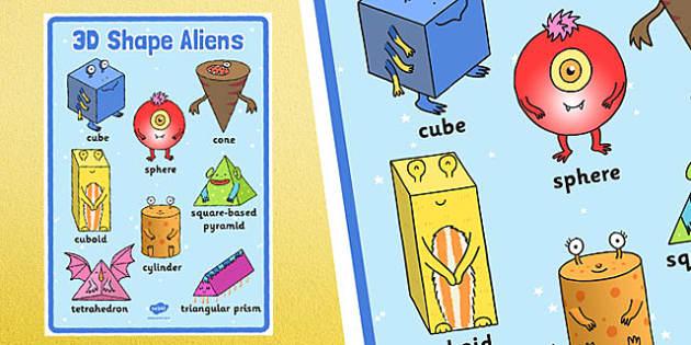 3D Shape Aliens Large Display Poster - 3d shape, aliens, large, display poster, display, poster