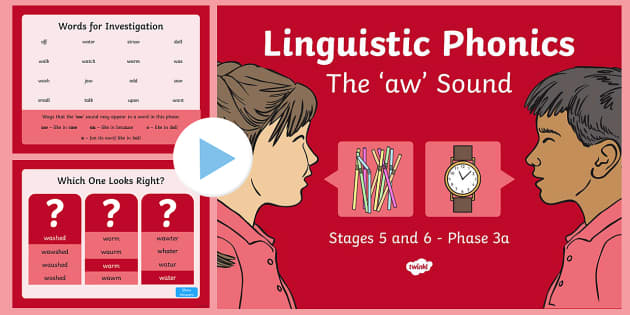 Northern Ireland Linguistic Phonics Stage 5 and 6 Phase 3a, 'aw' Sound PowerPoint