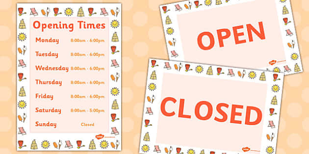 Seaside Opening Times Display Poster - seaside, opening times