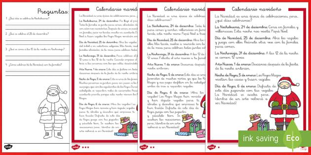 Calendario navideño 1º de Primaria Comprensión lector de atención a la diversidad - Christmas Spain, Navidad, navidades, reyes, festividades, lectura, comprensión lectora, celebrar, c