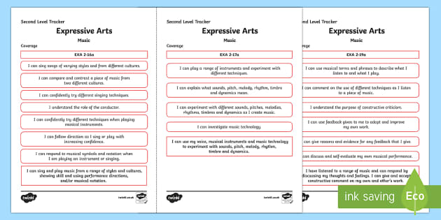 CfE Expressive Arts (Music) Second Level Child Friendly Tracking - Child Friendly Tracking CfE, tracker, EXA, curriculum for excellence, 2nd level, progression, I can,