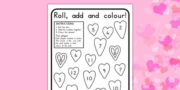 Valentine's Day Colour and Roll Worksheet - valentines day, colour