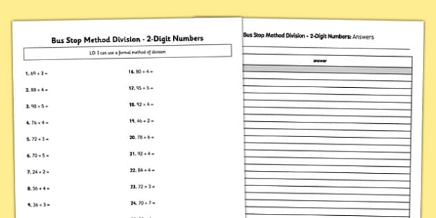 Bus Stop Method Formal Division of 2 Digit Numbers Activity – Bus Stop Division Worksheet