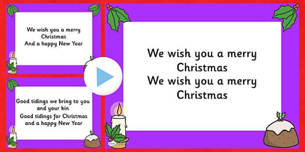 We Wish you a Merry Christmas Christmas Carol Lyrics PowerPoint - we wish you a merry christmas, christmas, christmas carol, powerpoint, christmas songs