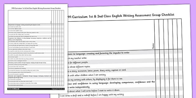 1999 Curriculum 1st & 2nd Class English Writing Assessment Group Checklist - Ireland, Irish, write