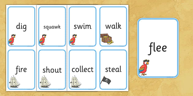 Pirates Themed Verb Action Cards - verb action cards, verb, action, activity, cards, pirates