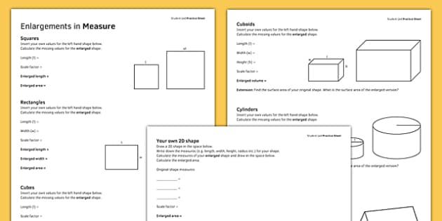 KS3_KS4 Maths Student Led Practice Sheets Enlargements in Measure - maths, KS3, KS4, GCSE, worksheet, practise, independent, growth mindset, measure, transformation, enlargement, scale factor, area, volume, shape