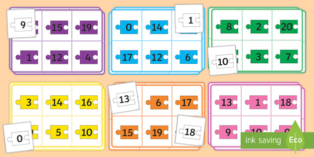 Number Bonds to 20 (Jigsaw Pieces)  - Number bonds, jigsaw, Counting to 20, Adding to 10, Bingo Counting
