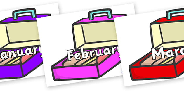Months of the Year on Lunch Boxes - Months of the Year, Months poster, Months display, display, poster, frieze, Months, month, January, February, March, April, May, June, July, August, September