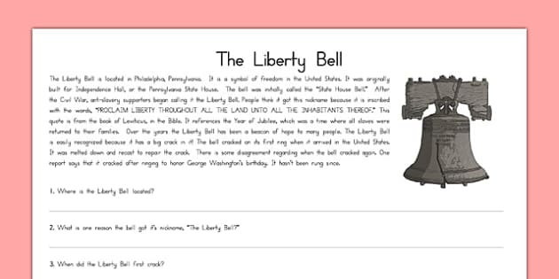 Symbols of the United States Liberty Bell Passage - US Resources, US Symbols, Liberty Bell, united, states