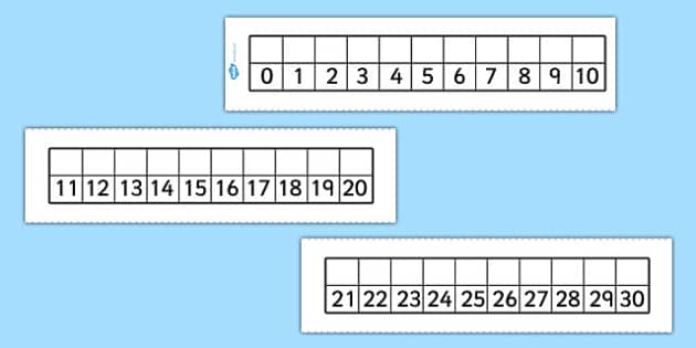 Editable Number Track 0-30 - editable, number track, 0, 30, number, track, maths