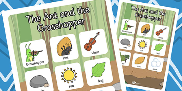 The Ant and the Grasshopper Vocabulary Poster - Grasshopper, Ant