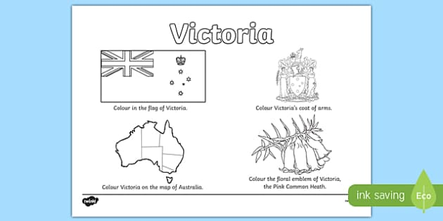 Victoria Colouring Sheet - australia, colouring, flag, coat of arms, floral emblem, map, Australia, Art, Geography, states, territories