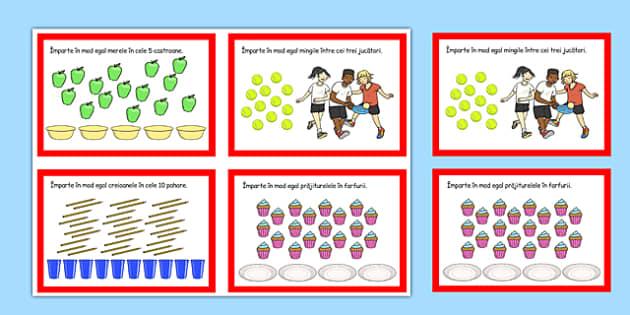 Cartonase cu probleme de Impartire - suport vizual, imagini