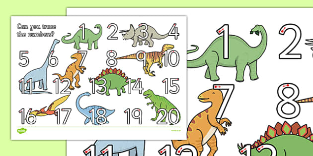 Dinosaur Themed Number Formation 1-20 Activity Sheet - dinosaur, number formation, 1-20, activity sheet, worksheet