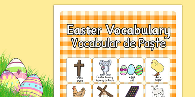 Easter Vocabulary Poster Romanian Translation - posters, season