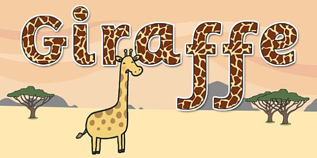 'Giraffe' Display Lettering - safari, safari lettering, safari display lettering, safari display words, giraffe display lettering, giraffe letters, giraffe