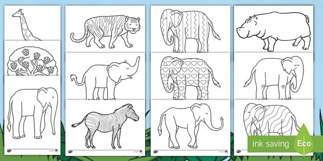 Elephant Colouring Sheets to Support Teaching on Elmer - australia, elmer, elephant, colour