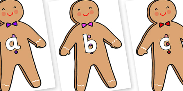 Phase 2 Phonemes on Gingerbread Man - Phonemes, phoneme, Phase 2, Phase two, Foundation, Literacy, Letters and Sounds, DfES, display