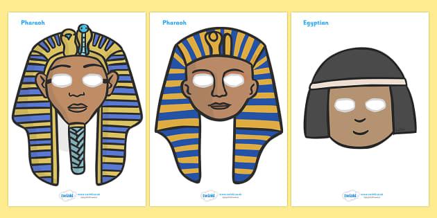 Ancient Egyptian Role Play Masks - Ancient Egyptian, history, Egyptians, role play mask, role play, Egypt, pyramids, Pharaoh, hierogliphics, hieroglyphs, Tutankhamun, Giza, Dahshur, Mummy