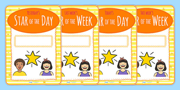 Student star of the day week display posters star of the for Star of the week poster template