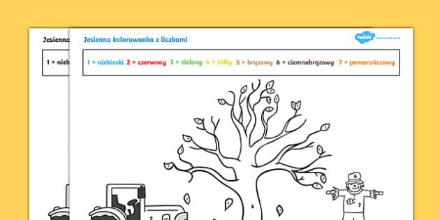 Jesienna kolorowanka z liczbami po polsku