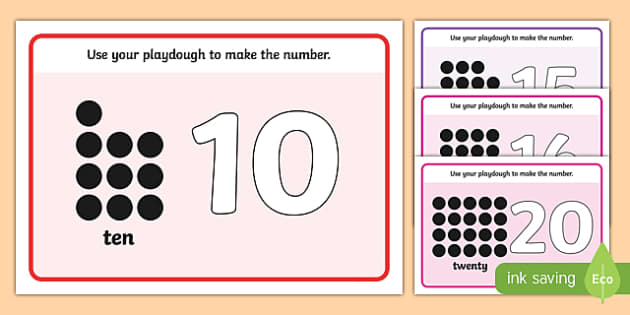 Simple Number Playdough Mats (11-20) - Playdough mat, playdough resources, numeracy, numbers, playdough