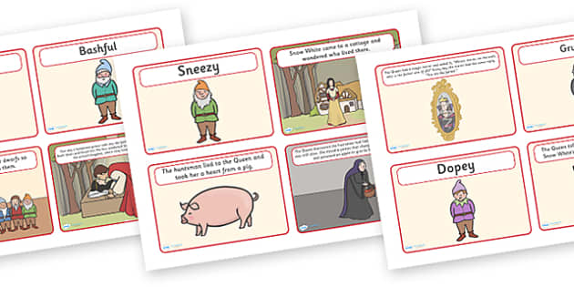 Snow White and the Seven Dwarfs Story Sequencing (4 per A4) - Snow White and the Seven Dwarfs, Snow White, Dwarfs, Seven Dwarfs, traditional tale, sequencing, story sequencing, story resources, A4, cards, 4 per A4, tale, magic mirror, the queen, prin