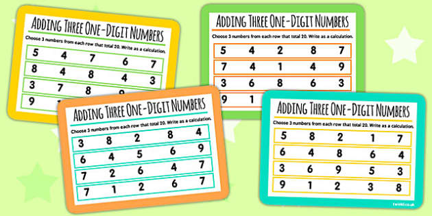Add Three One Digit Numbers Which Numbers 3 KS1 Maths Cards