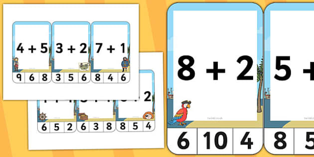 Pirate Themed Addition to 10 Peg Activity - pirate, addition, 10, peg, activity