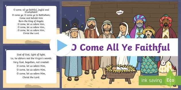 O Come All Ye Faithful Christmas Carol Lyrics PowerPoint - carol, christmas carol, lyrics, o come all ye faithful