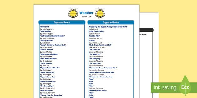 Weather Book List - EYFS, Early Years, sun, rain, wind, snow, storm, rainbow, fiction, non-fiction